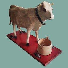 Antique Papier-Mache Pull-Toy Cow