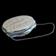 Antique Mother of Pearl Doll Purse with Silk Interior