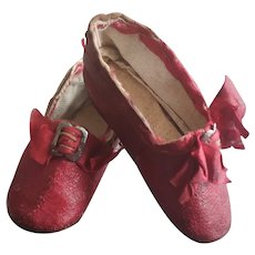 Reserved by A.M. Rare Antique Red Leather Shoes (circa 1850)