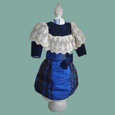 Antique Royal Blue Silk and Velvet Dress