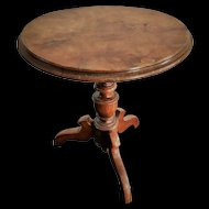 Antique Walnut Tilt-Top Round Doll Table
