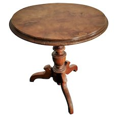 Antique Walnut Tilt-Top Round Doll Table