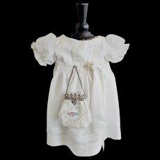 Antique Silk Doll Dress with an Elegant Purse