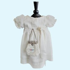 Antique Silk Doll Dress with an Elegant Purse