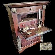 Antique Miniature Drop-Front Walnut Secretary/Desk with Drawers