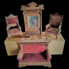 Collection of Antique German Wooden Dollhouse Furniture