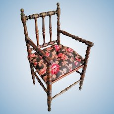 "Magnificent 14"" Antique French Wooden Doll Chair with Cushion"