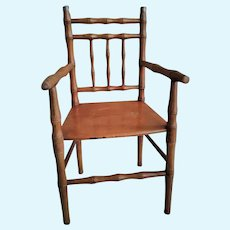 "Antique French 16"" Wooden Doll Chair"