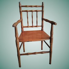 """Antique French 16"""" Wooden Doll Chair"""