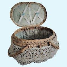 Antique French Mignonette or Small Bebe Presentation Basket / Box