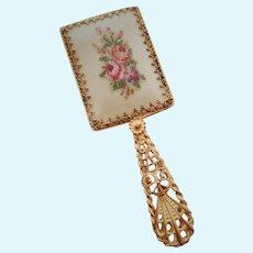 Antique Pierced Brass Hand Mirror
