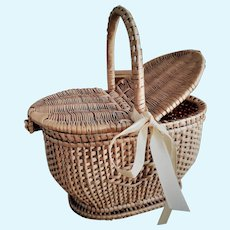 French Miniature Doll Wicker Picnic Basket