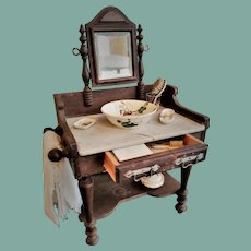 Antique French Marble-topped Washstand with a Chamber Set