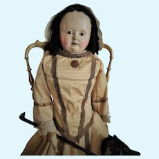 "Large Antique 33"" French Papier Mache Doll ""Pauline"" Voit (circa 1850) Reserved by J."