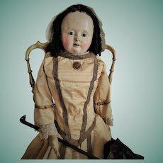 """Large Antique 33"""" French Papier Mache Doll """"Pauline"""" Voit (circa 1850)"""