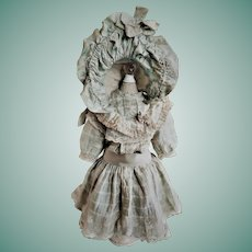 Authentic Antique French Silk Doll Dress with Bonnet