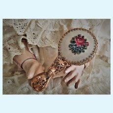 Elegant Pierced Brass Miniature Doll Mirror