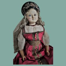 "English Wax Doll (known as ""Mad Elise"") with Glass eyes and Superb Original National Russian Costume"