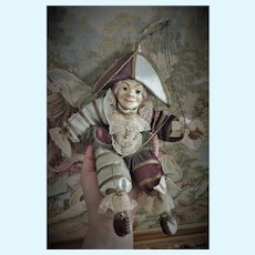 """Outstanding 12"""" Papier Mache Polichinelle Theatrical Doll"""