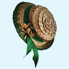 Beautiful Antique Straw Doll Hat