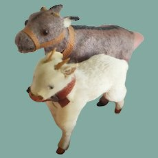 Pair of Rare Miniature Antique Doll Goats