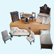 Antique French Dollhouse Furniture Set
