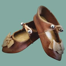 Size 7 Antique Brown Leather Doll Shoes with Insignia Figure of Doll