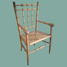 Antique French Bamboo Doll Chair