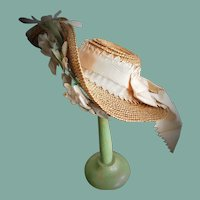 Antique Straw Doll Bonnet with Upturned Front