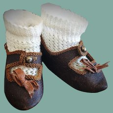 Size 5 Antique Leather Jumeau Shoes