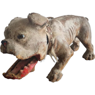 Rare Antique French Growler Bulldog Pull-toy