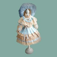 Lovely One of a Kind Dress and Bonnet for an Antique Doll
