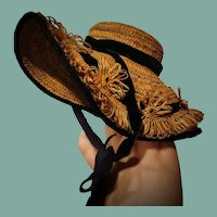 French Antique Doll Straw Bonnet