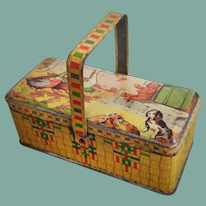 Beautiful Early Tin Basket / Lunchbox with Lithography