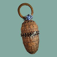Very Rare Antique French Egg-Shaped Doll Basket