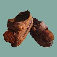 """2 1/3"""" Leather Antique Doll Shoes"""