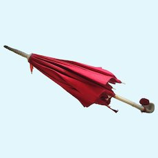 Antique French Red Silk Parasol / Umbrella with Magnificent Handle