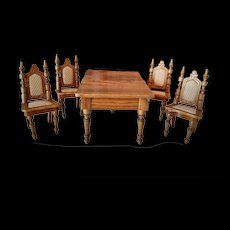 Antique Miniature Dollhouse Dinning Set of Four Chairs and a Extension Table by Schneegas (circa 1890)