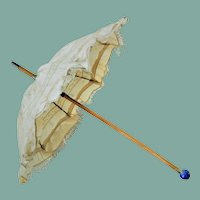 Antique Silk Fashion Parasol / Umbrella with a Marble Blue Grip (circa 1890)