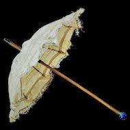Antique Silk Fashion Parasol / Umbrella with a Marble Blue Grip (circa 1890)
