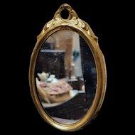 Antique Miniature Dollhouse Ormolu Oval Mirror