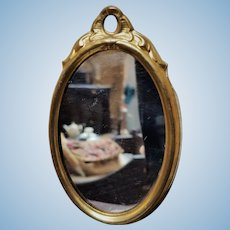 Antique Miniature Dollhouse Ormolu Oval Mirror