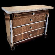 Antique Biedermeier Dollhouse Chest of Drawers with Marble Top by Wagner