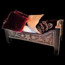Antique Biedermeier Dollhouse Bed with Exquisite Bedding