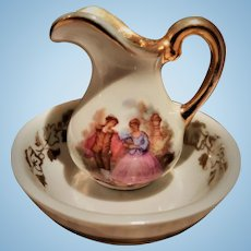 Antique Limoges Doll Set of a Jug and Bowl in Miniature Size