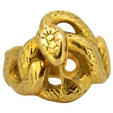French Art Deco 18 Karat Gold Snake Ring, circa 1920s