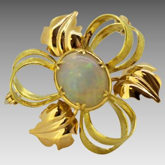 Vintage 18 Karat Yellow Gold Brooch with Natural Opal '3 Carat', circa 1970s