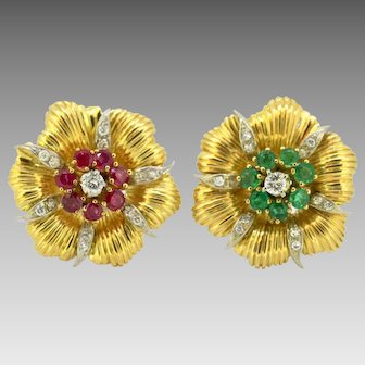Vintage 18 Karat Gold Ladies Clip on Earrings with Diamonds, Emeralds and Rubies