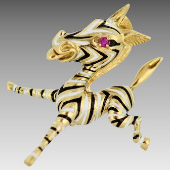 Ben Rosenfield - 18K yellow gold and enamel brooch with ruby (0.07 ct), London 1967