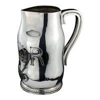 Antique Victorian large sterling silver jug in the form of blackjack